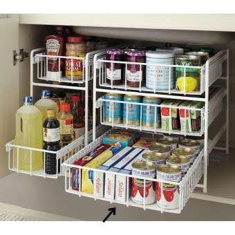 ごちゃつきがちなシンク下に、奥まで使いやすい引き出しラック。食品ストックや洗剤のボトルなどを効率良く収納できます。1段の耐荷重約10kgの頑丈なキッチンラックはコンロ下や洗面台下収納におすすめ。