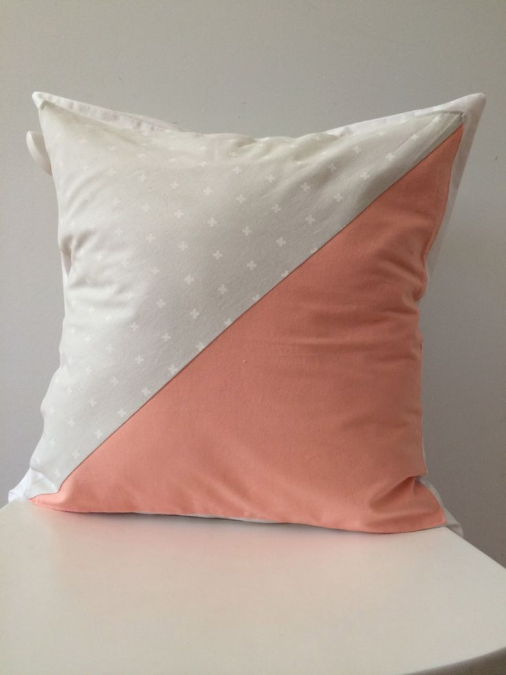 """Envelope pillow cover. Handmade. One of a kind. Peach and light grey pillow cover. 18"""" x 18"""" by scraphilldesigns on Etsy"""