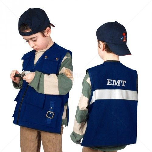 Our EMT dress up costume vest is a fun way to practice fine motor skills - buttons and zips - and also has inside pockets for added weights to make it work like a weighted vest with calming pressure.