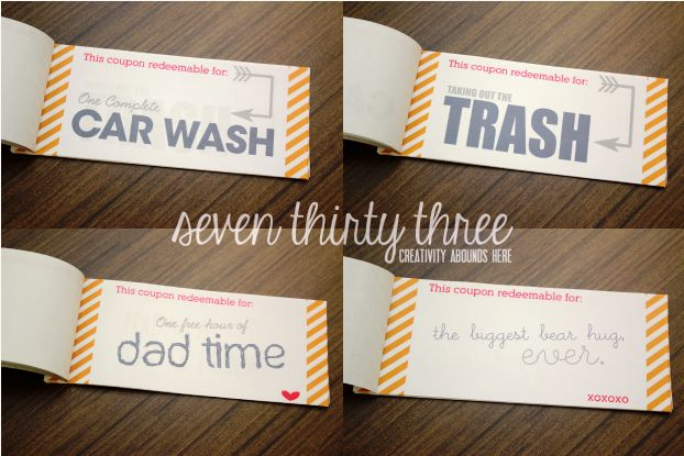 Coupon book for daddy