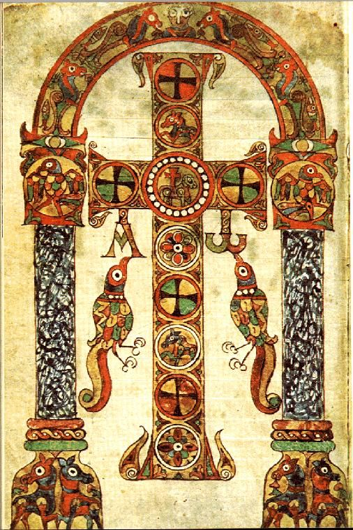 A Crux gemmata from an Insular illuminated manuscript