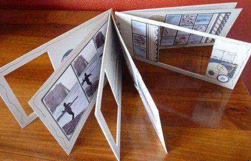 Voici un album dans lequel j'ai fabriqué des fenêtres. Les pages font 12 x 26 et j'ai utilisé les papiers kaiser. Mes photos sont poncées tout autour et matées.