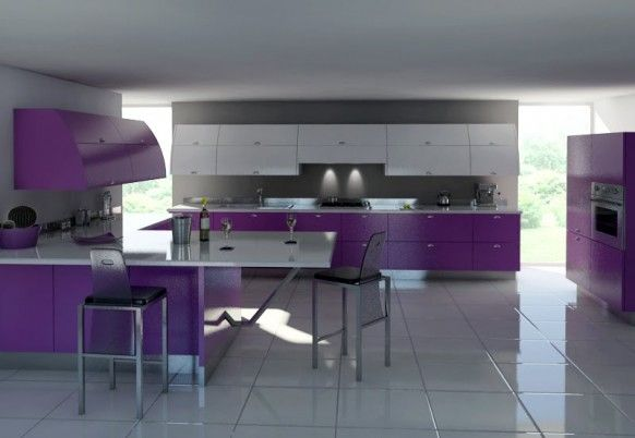 Astonishing Modern Gray And Purple Kitchen Furniture Along With Ceramic Floor As Well As Counter Top: Inspiring purple dining chairs in the kitchen