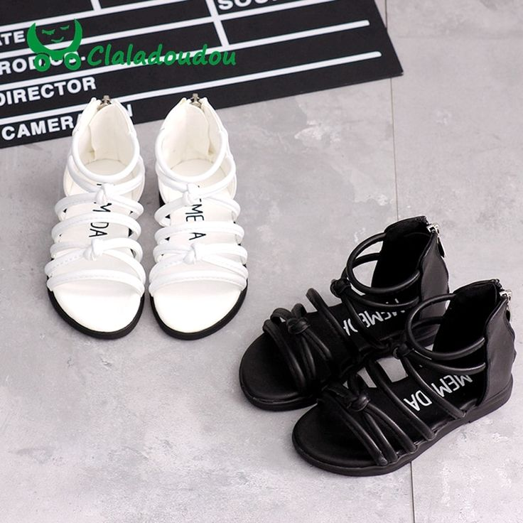 Claladoudou 13.5-18.5CM Brand kids girls fashion knot summer boots sandals white black gladiator zip beach sandal shoes for 3-6Y