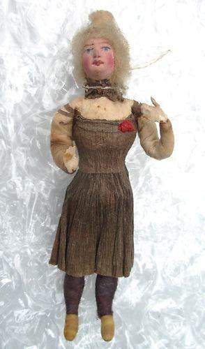 Antique C 1900 Germany Spun Cotton Christmas Ornament Woman Crepe Paper Dress | eBay