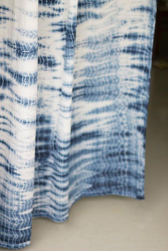 Shibori sheer drapes - curtains - tie and dye - sheer panels - door curtains - indigo fabric - shibori - bohemian drapes - boho decor
