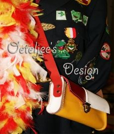 Enveloppe tasje Oeteldonk rood wit geel leer | Carnavals tasjes | Oeteljee.nl | Den Bosch |