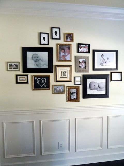 LOVE the little chalkboard frame within the photo wall