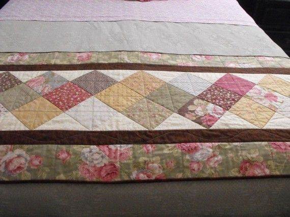 Quilted Bed Runner For Double Queen or King Size Beds by bobann23, $175.00