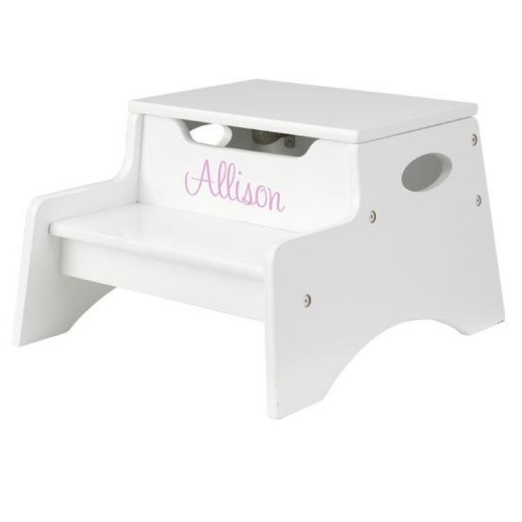 Delightful Personalize This White Step N Store With Any Name, Up To 10 Characters.  Choose From Three Fonts, And Five Print Colors.