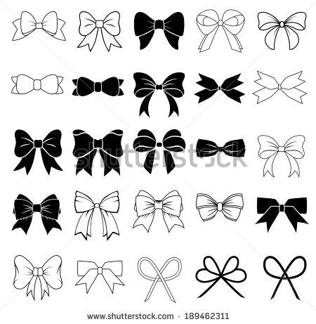 Set of graphical decorative bows. - stock vector