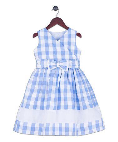 Look what I found on #zulily! Light Blue Gingham Bow-Accent Dress - Toddler & Girls #zulilyfinds