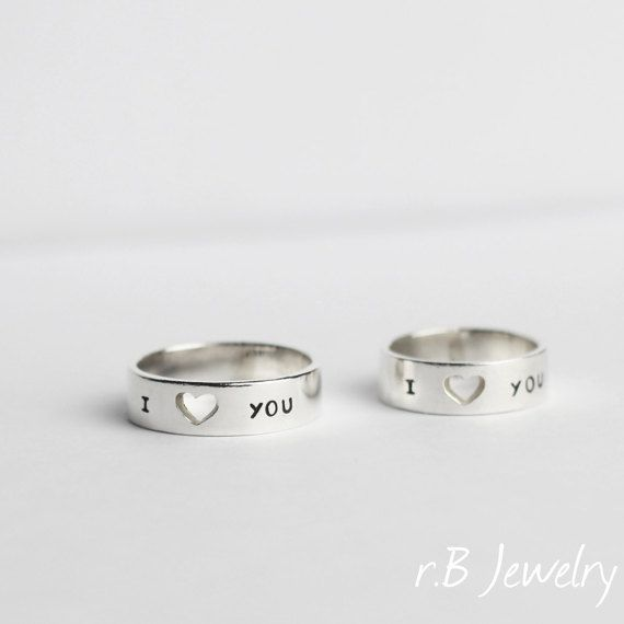 Small Heart Couples Ring, Couple Rings, Promise Ring for Couples by JewelryRB