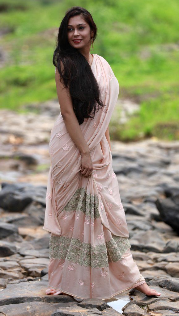 Peach Sorbet and Pearls Pure Silk Chiffon Saree – EAST & GRACE