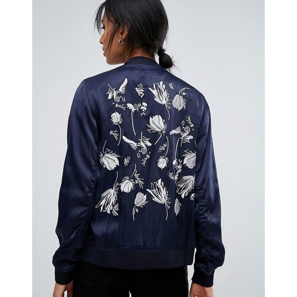 Just Female Panther Embroidered Back Bomber (2,410 EGP) ❤ liked on Polyvore featuring outerwear, jackets, navy, navy blue jackets, navy blue bomber jacket, tall jackets, blue jackets and style bomber jacket