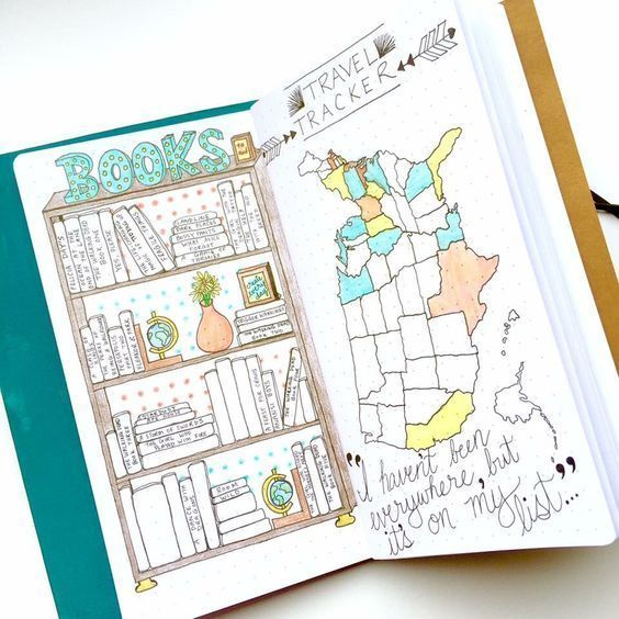 Bullet journal books and travel tracker