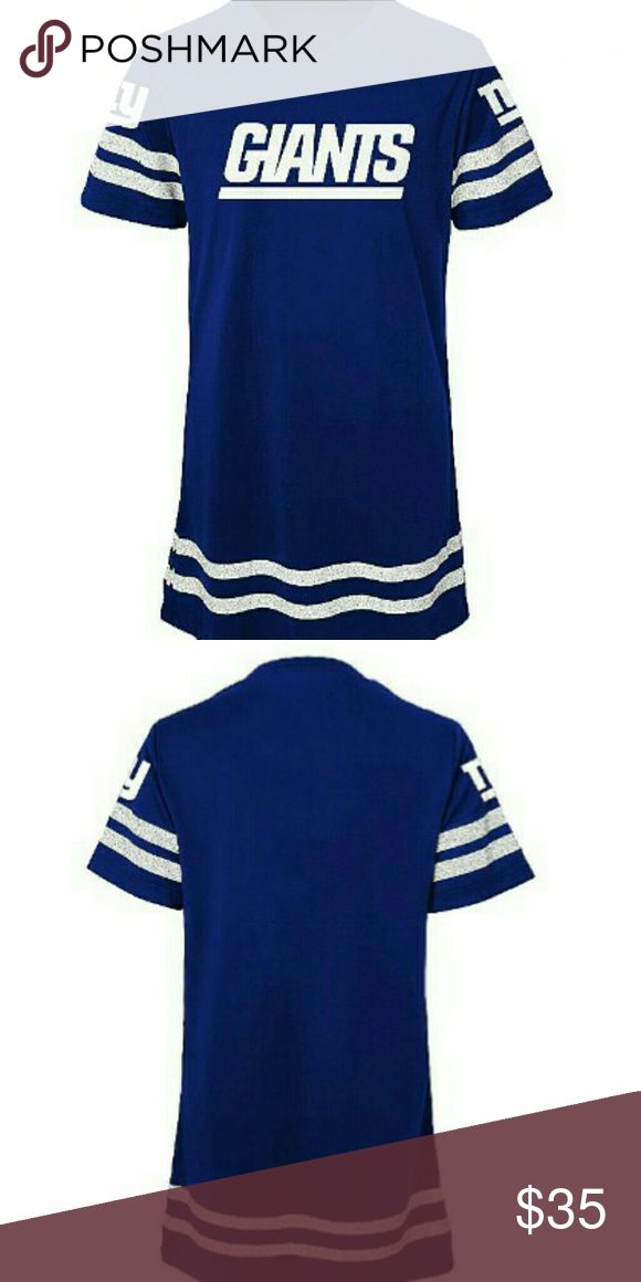 NY Giant's Football Dress Sporty and cute collide to form this girl's NY Giant's football dress . The fabric content is cotton / polyester jersey. Features: glitter team graphic , v- neck , short sleeves, . Handle and care : machine wash. Dresses Casual