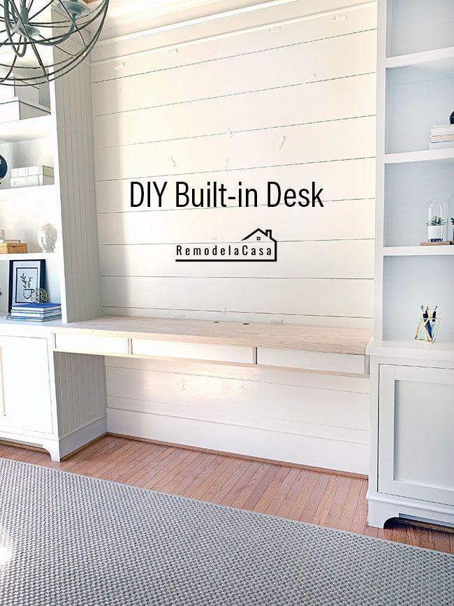Diy Built In Desk In 2020 Built In Desk Office Built Ins Bookshelves Built In