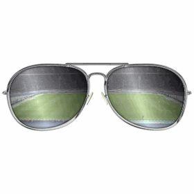 Sonnenbrille im Fu�ballstadion - Eine verspiegelte Sonnenbrille mit mit Blick auf ein Fu�ballstadion, hier das Berliner Olympiastadion.