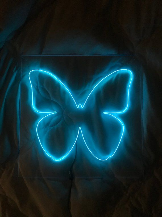 Butterfly Neon Sign 12 X 12 In 18 X 18 In Custom Handmade Blue Aesthetic Pastel Blue Aesthetic Dark Light Blue Aesthetic