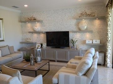 """""""Riverstone"""" models inspirational pictures.  Stacked stone, floating shelves contemporary-living-room"""