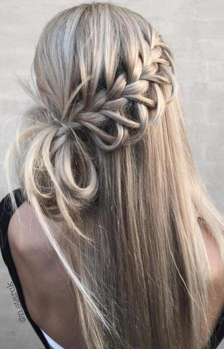 Straight waterfall braid and half updo Check more at trendy hairstyle ...