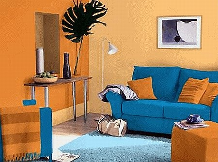 Blue And Orange Living Room #letscolour Part 36