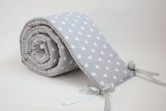Baby Cot Bumper Crib Bumper Baby Bedding Grey Bedding by myTITU, £32.50