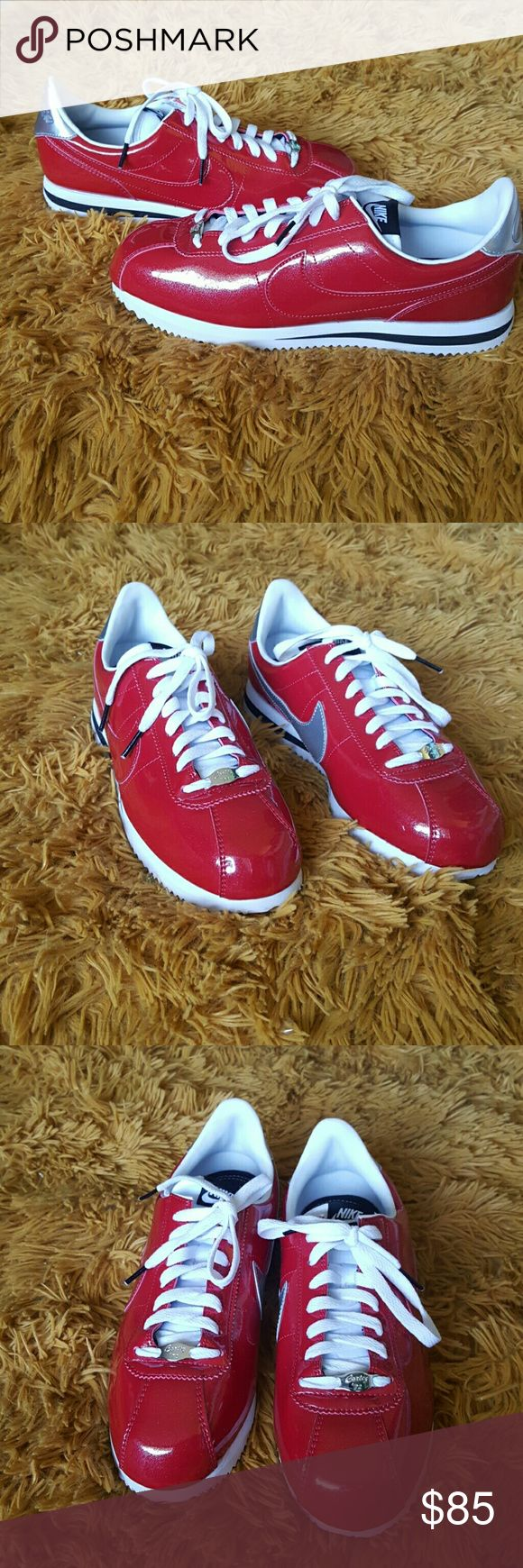 Nike Cortez Shoes NEW without box! Style: Cortez Basic Prem QS Size: Men's 9 They are a shiny patent red , best seen in last picture. Nike Shoes