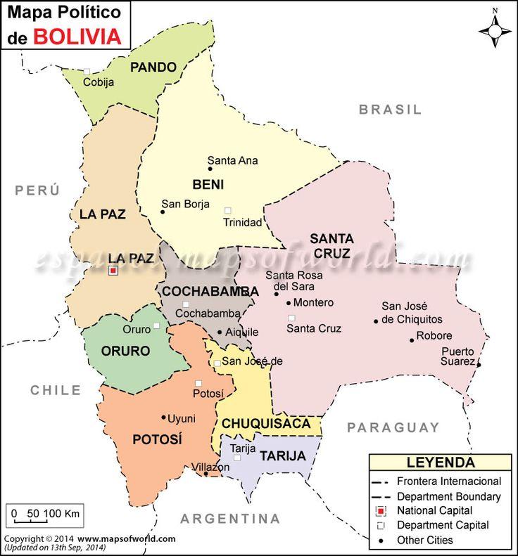 Bolivia es un país conocido principalmente por los altiplanos andinos. De hecho La Paz, ciudad sede del Gobierno y capital administrativa, está a 3600 metros por encima del nivel del mar. Allí se pueden visitar multitud de mercados indios y es el punto de partida para acercarse hasta el famoso Lago Titicaca (compartido con Perú), en cuya ribera se sitúan las ruinas incas de Tiahuanaco.