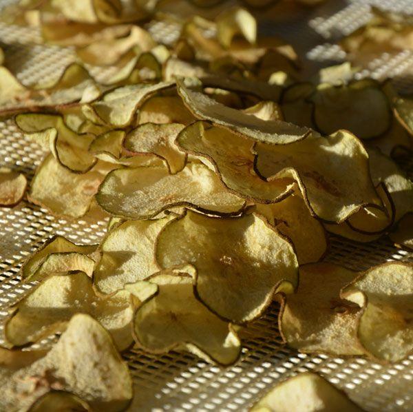 Peren worden net als appels op 57 graden gedroogd. Ik vind het persoonlijk heel lekker om peren met een mandolinein hele dunne schijfjes te snijdenmaar u kunt de peren ook met de hand snijden in schijfjes van maximaal 0,5 centimeter.