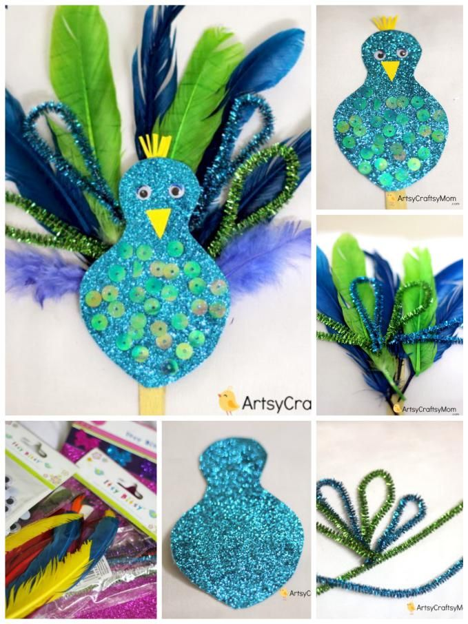 Easy Peacock craft for kids made using  feathers, pipe cleaners & glitter paper.  A fantastic craft to make after visiting the zoo & while learning about birds.