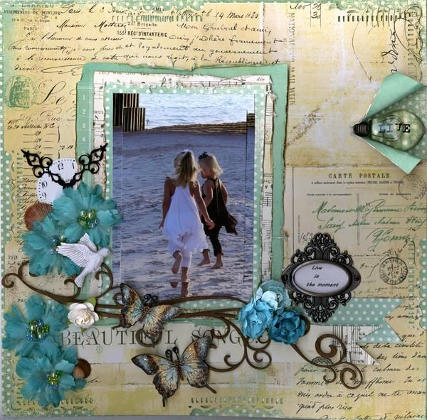 Beach layout, scrapbook page