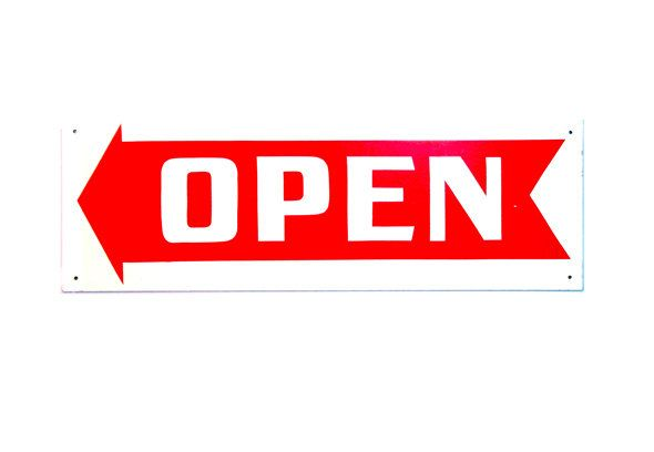 OPEN Sign - Vintage Realtors Red and White Industrial OPEN Sign with ARROW Choice of Arrow Pointing Left, Right Great Graphics New Old Stock by DesignRewindHome on Etsy