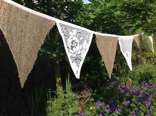 banderines/ guirnaldas de tela de arpillera casamientos