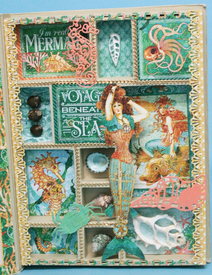 "Using Graphic 45 new Voyage Beneath the Sea paper I've created this 12""x9"" configuration book featuring a beautiful mermaid."