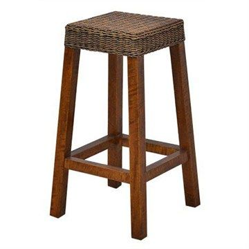 Falkenberg Solid Mango Wood Timber Bar Stool with Rattan Seat