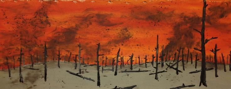 """Ashscape"" by Sandy Lawson (c) 2012. Acrylic on Canvas. 18"" x 40"""