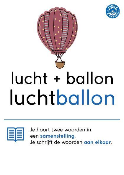 Als twee woorden samen één woord vormen, noemen we dat een samenstelling. Het woord luchtballon bestaat uit de woorden lucht en ballon. Je schrijft de woorden aan elkaar.