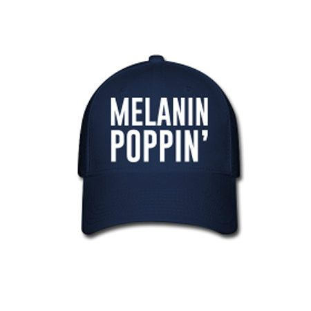 Melanin Poppin' Flex Fit Baseball Cap - Blue
