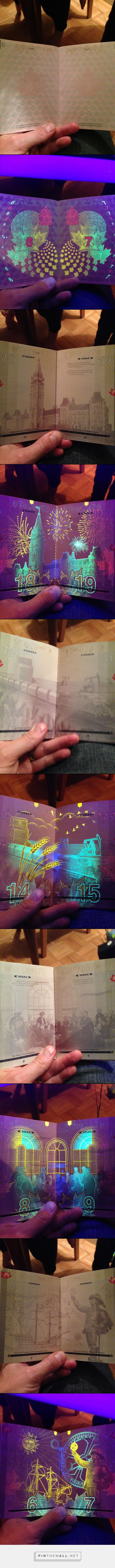 Canadian passport under a UV black light// Uncovered that the Canadian government had hidden a PARTY in its pages// http://www.buzzfeed.com/tanyachen/canadian-passport-black-light-party#.xhDPzdyYr http://imgur.com/gallery/3u8xP
