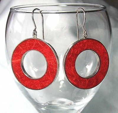 925-Sterling-Silver-Pierced-Earrings-w-Red-Sponge-Coral-14-5-grams-2