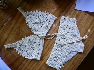 """Walkednights Bralette"" is a crochetology exercise - using a motif and trim pattern as theme, make a bralette."