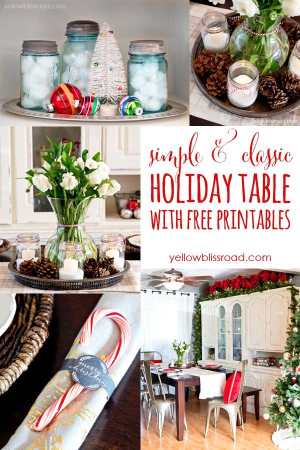 Beautiful Holiday Table with free printable napkin rings