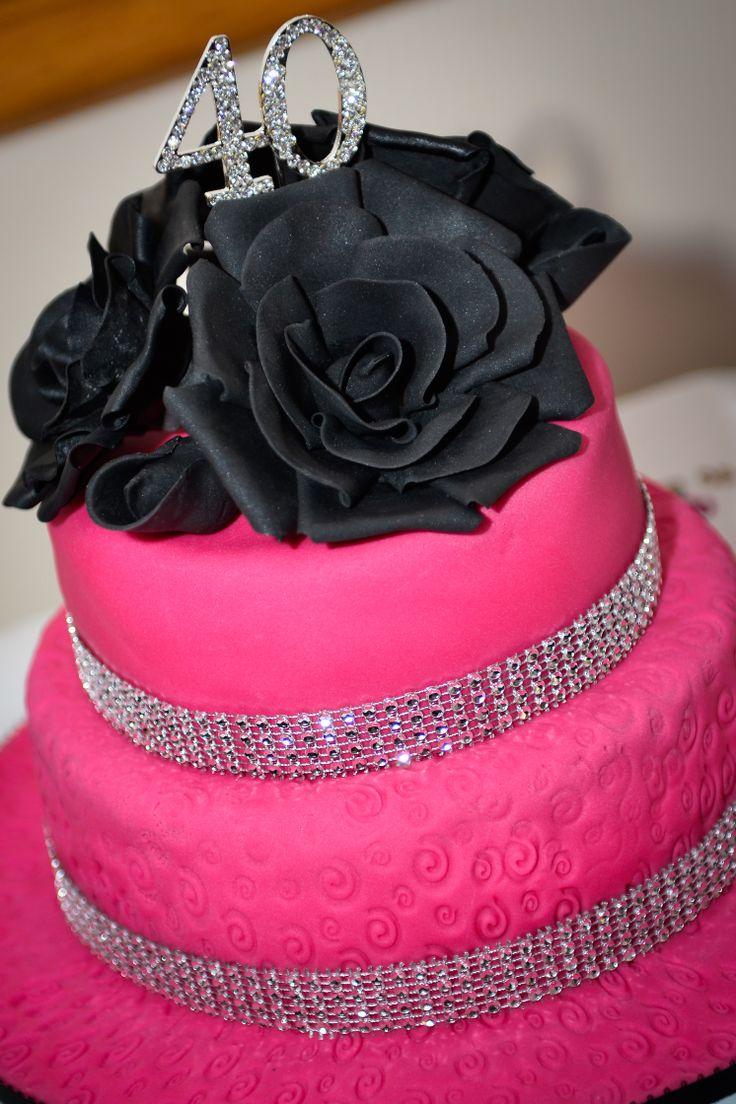 40th Birthday Pink Black Sparkly Embossed Girls Lady