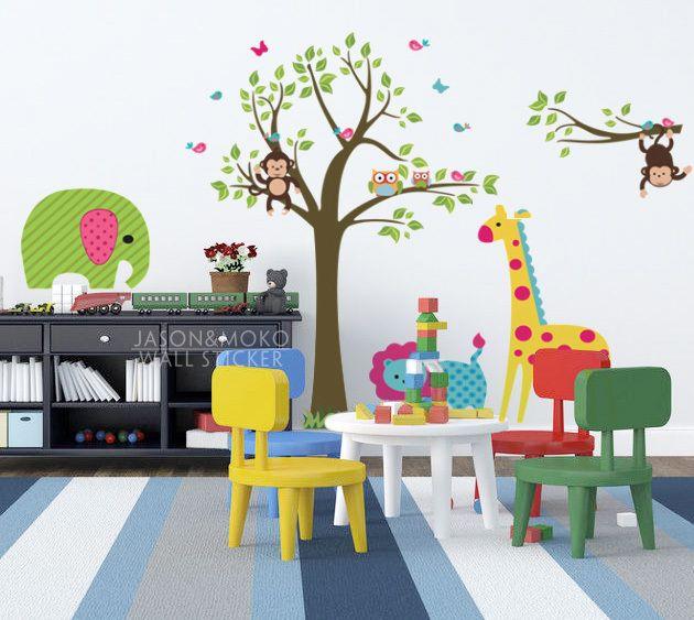 As flores bonitas do jardim zoológico de berçário das crianças sala decorativos adesivos de parede de vinil Crianças adesivos de decoração H...