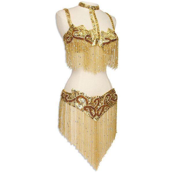 Gold Sequin & Fringe Turkish Bra & Belt Belly Dance Costume - At... ❤ liked on Polyvore featuring costumes, dresses, dance, belly dancing, outfits, gold belly dancer costume, belly dancer halloween costume, gold halloween costumes, gold costume and sequin costume