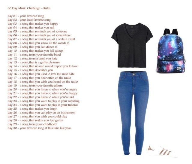 """""""Song challenge day 4"""" by prplbtrfly ❤ liked on Polyvore featuring Deby Debo, River Island and adidas Originals"""