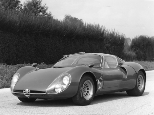 Alfa Romeo Tipo 33 Stradale '1967–69  The 33 Stradale, first built in 1967, was based on the Autodelta Alfa Romeo Tipo 33 racing car.  The car, designed by Franco Scaglione, and built by Carrozzeria Marazzi, made its debut at the 1967 Turin Motorshow.  Built in an attempt by Alfa to make some of its racing technology available to the public, it was the most expensive automobile for sale to the public in 1968 at US$17,000 (when the average cost of a new car in 1968 was $2,822).  I