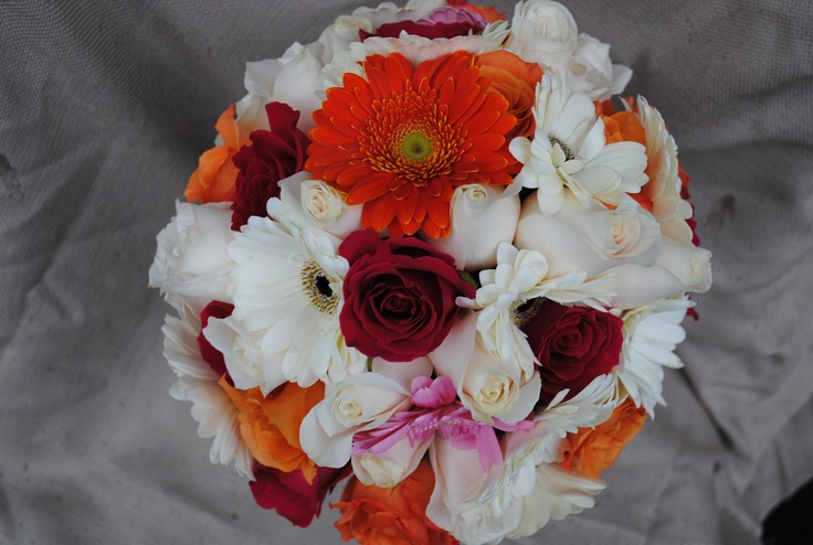 Orange & White bouquet  Roses, gerbera daisies and orchids